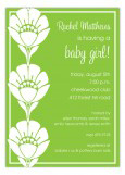 Vibrant Green Flower Trio Invitation