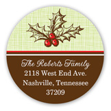 Vintage Christmas Holly Round Sticker