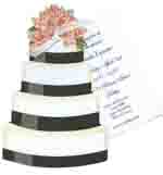 Wedding Cake With Pink Roses Invitation