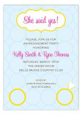 Wedding Rings She Said Yes Invitation