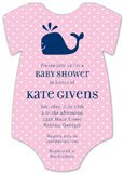 Pink Whale Cutie Onesie Baby Shower Invitations for Girls