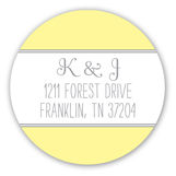 Yellow and Gray Banner Round Sticker