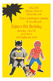 Yellow Super Heros Invitation