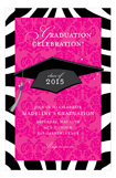 Zebra and Damask Grad Invitation