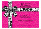Zebra Bow on Pink Damask Invitation