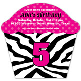 Zebra Cupcake Invitation
