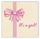 Baby Girl Bow Square Sticker