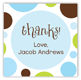 Blue Chocolate Lime Dots Square Sticker