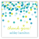 Blue Falling Confetti Square Sticker