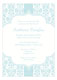 Blue Floral Damask Invitation