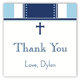 Blue Stripe Cross Square Sticker