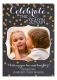 Celebrate the Season Gold Confetti Chalkboard Photo Card
