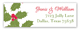 Christmas Holly Berry Leaves Address Label
