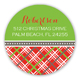 Christmas Plaid Round Sticker