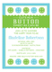 Cute as a Button Blue Baby Shower Invitation