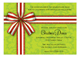 Festive Bow on Green Baroque Invitation