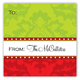Festive Bow on Green Baroque Square Sticker
