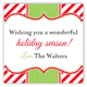 Holiday Red White Stripes Square Sticker