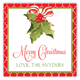 Merry Christmas Holly Square Gift Tag Stickers