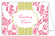 Hot Pink Floral Lime Dotted Stripe Folded Note Card