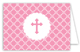 Pink Cross Iron Scroll Folded Note Card