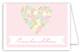 Pink Floral Heart Baby Shower Folded Note Card
