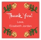 Pink Floral Square Thank You Stickers