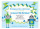 Rowdy Robot Online Birthday Invitations