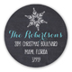 Seasons Greetings Snowflakes Round Sticker