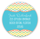 Stylish Chevron Blue Round Sticker