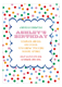 Polka Dotted Sweet Confetti Kids Birthday Invitations